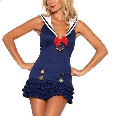 Leg Avenue Sweetheart Sailor Fancy Dress Costume Outfit Navy Uniform  M/L 10-12