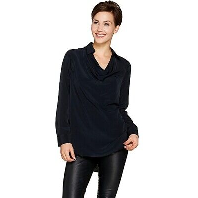 Lisa Rinna Collection Collared Cowl Neck Blouse Color Black Size X-Large