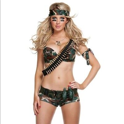 Military Hottie (NEW STARLINE SEXY COMBAT HOTTIE MILITARY ARMY CAMO HALLOWEEN COSTUME L LG)