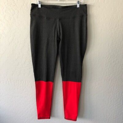 Fabletics Kate Hudson Mossel Leggings Gray Red Colorblocked Size XL