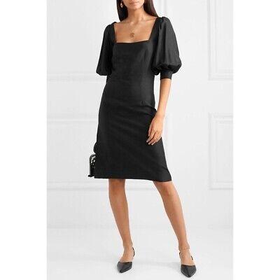 Deitas Women's Black Kaspia Silk Mini Dress Balloon Short Sleeves size 38 6 $635 Black Silk Mini Dress