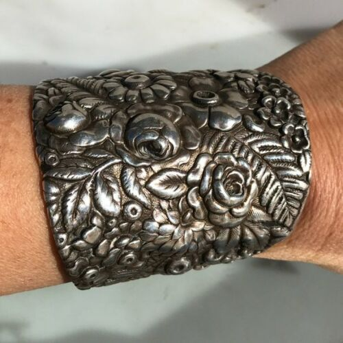 Antique Art Nouveau Floral Tiffany Sterling Silver 925 Bracelet Cuff Wide .925