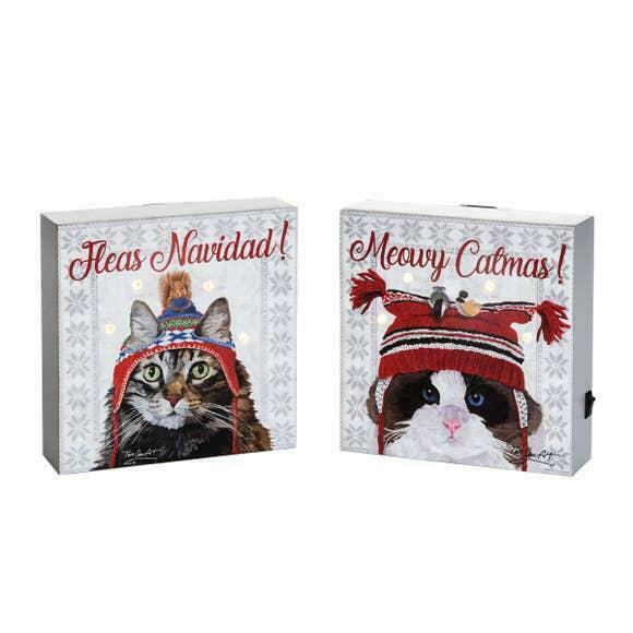 Fleas Navidad! Meowy Catmas! Cat Themed LED Lighted Christmas Decor Set of Two