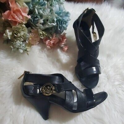 Halloween Toes Designs (NWOT MICHAEL KORS black leather strappy stretch open toe gold zipper cone heel)