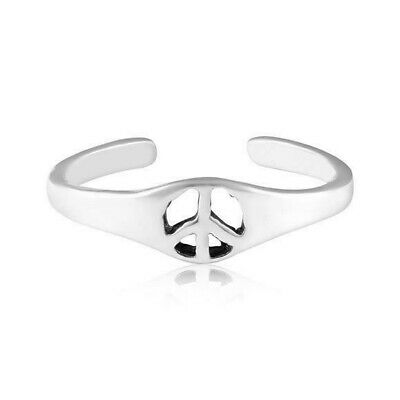 Peace Sign Toe Ring Solid Sterling Silver 925 Adjustable Best Jewelry
