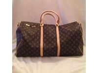 Louis Vuitton keepall travel bag in leather