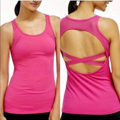 NICE Fabletics Women's Size 12 Pink Mesh Built In Bra Cross Back Tank Top $79