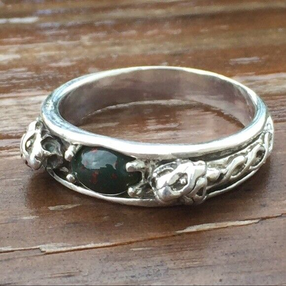 Medieval LION Ring .925 Sterling SILVER sz 10 with Natural Bloodstone Heliotrope