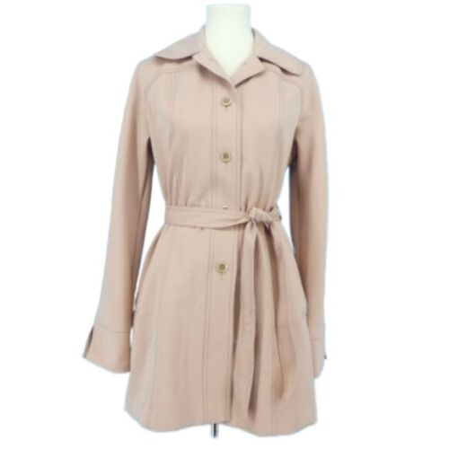 Vintage Foxland by Lanson Trench Coat Womens Medium Dusty Peach Button Front