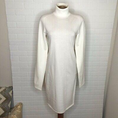 Helmut Lang Womens Knit Dress Sz M White Long Sleeve Turtleneck Midi Wool Blend