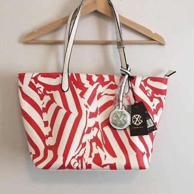 NWT! CXL CHRISTIAN LACROIX TOTE RED & WHITE PRINT ZIPPER BEACH BAG + DUSTBAG NEW](Christian Tote Bags)