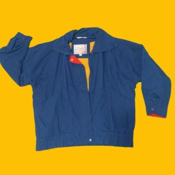 Vintage 80s Gitano Bomber Jacket Windbreaker Primary Colors Women