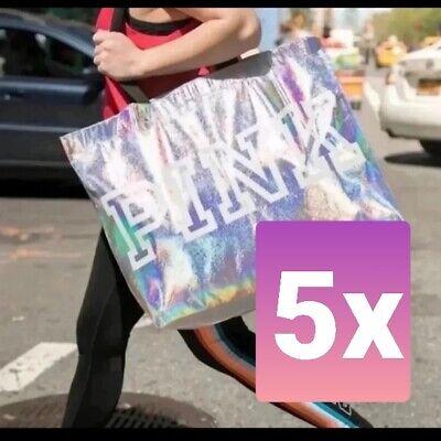 Silver Gift Bag (5 Victoria Secret PINK Silver Metallic Shopping Tote Bag Reusable Gym Beach)