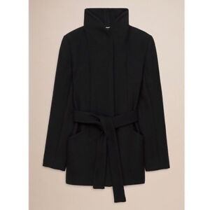 Small Aritzia Wilfred Appell Cocoon Tie Wool Coat Black