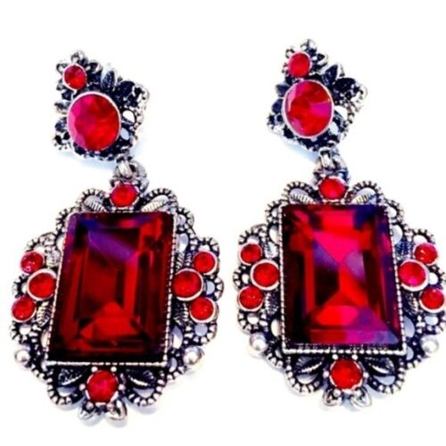 RED RHINESTONE CRYSTAL EARRINGS VICTORIAN REVIVAL DRAMATIC LOVELY PIERCED