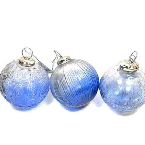 Midwest CBK Assorted Blue Kugel Glass Christmas Ornaments Lot of 3 OOP HTF! NOS