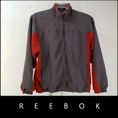 Nike Golf Men's Windbreaker Jacket Size Large Red Grey Full Zip -zip Pockets