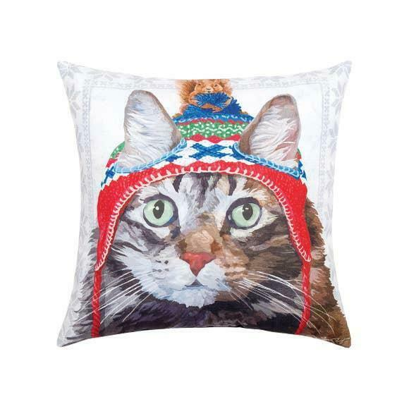 Winter Hat Cat & Squirrel Indoor/Outdoor Printed Christmas Decorative Pillow