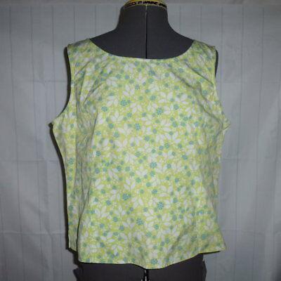 - Liz Claiborne sport tank top shirt sleeveless L green teal flowers  (F52)