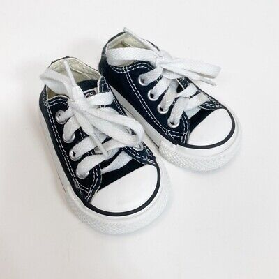 Converse Black Low Top Sneakers Shoes Size 3 Infant Baby Unisex