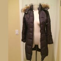 MICHAEL KORS Black Real Fur Trim Puffer Maxi Jacket Sz S