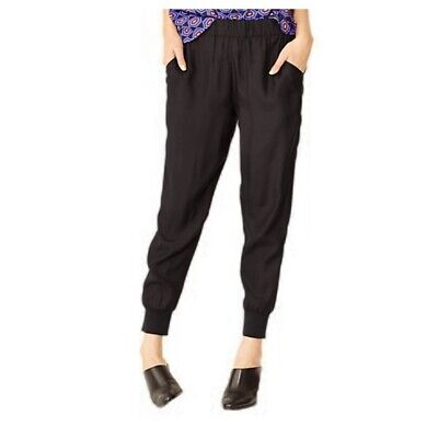 KATE SPADE Black Silky Joggers Pants XL Silk Viscose Blend