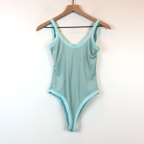 TULAROSA One-Piece High Cheeky Cut Scoop Back Ribbed Swimsuit Size S Sky Blue