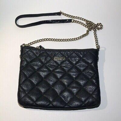 Kate Spade Handbag Quilted Leather Chain Crossbody Shoulder Bag Black