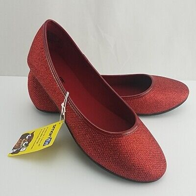 New Girls Size 4 Red Sparkle Dress Slip on Shoes Dorothy Christmas Dressy   - Girls Red Dorothy Shoes
