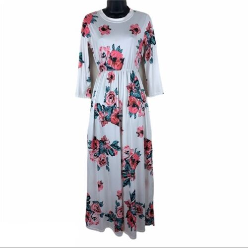 Maternity White Pink Floral Maxi Dress Women