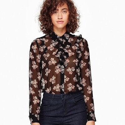 kate spade 'ditsy burst' ruffle silk chiffon blouse sz S $278