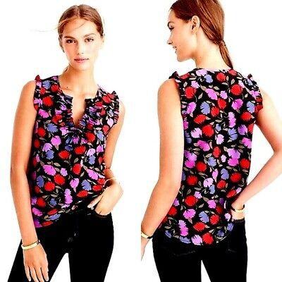 J Crew Designer Multicoloured Painted Pansy Silk Ruffle Sleeveless Top Blouse
