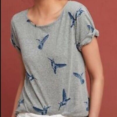 ANTHROPOLOGIE Size S New Bird Print Tee Top  Cute Back 58.00
