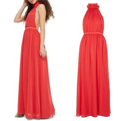 TOPSHOP Red Ruched Halter Open Back Empire Chiffon Maxi Dress Gown 4US 8UK 36 S Chiffon Ruched Halter Dress