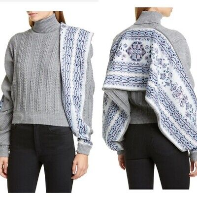 NWT Y/Project Fair Isle Scarf Turtleneck Sweater Gray Blue Size M Knit