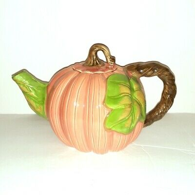 Vintage FWC The Cooks Bazaar Large Ceramic Orange Pumpkin Teapot