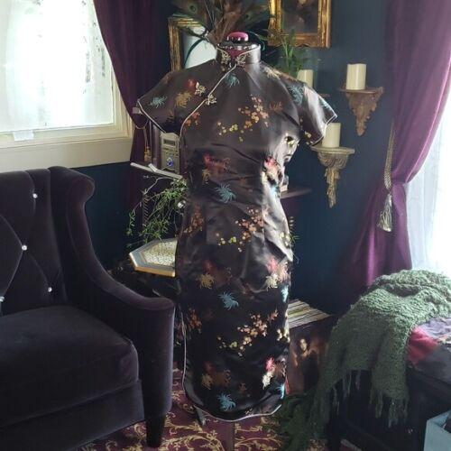 Vintage Authentic Chinese Cheongsam Qipao Silk Brocade Floral Print dress