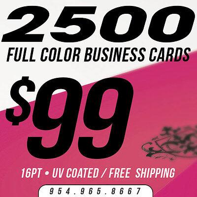 2500 Business Cards Printing - Custom - 16pt UV Gloss (Ultra Glossy), Full Color