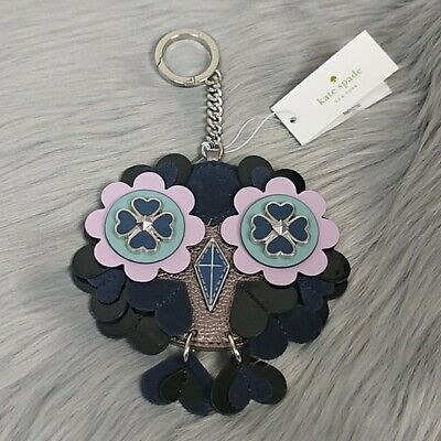 Kate Spade Night Cap Leather Owl Keychain Key FOB Black Silver & Lavender NWT