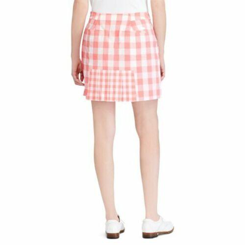 Ralph Lauren Polo Golf Gingham Plaid Pleated-Back Skirt Skort