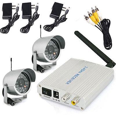 DIY 2.4G Wireless Indoor/Outdoor Security Surveillance 2 CCTV Video Color Camera