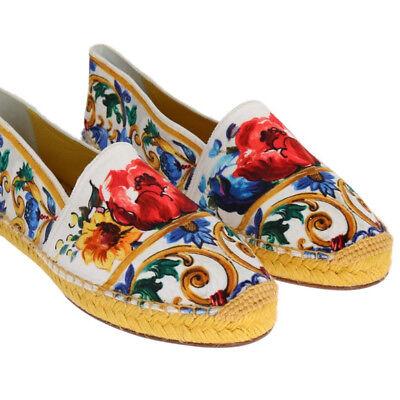 DOLCE & GABBANA Shoes Espadrilles Majolica Print Velvet s. EU39 / US8.5