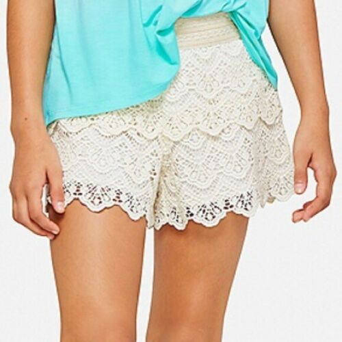 Justice Girls White Crochet Lace Tiered Scalloped Pull-On Shorts Size 12 EUC