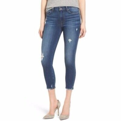 Paige Hoxton Crop Mid-High Rise Distressed Skinny Jeans In Nora Destroy 25 EUC