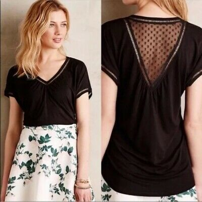 Anthropologie Meadow Rue Womens Top Solid Black Short Sleeve V-Neck Small Mesh