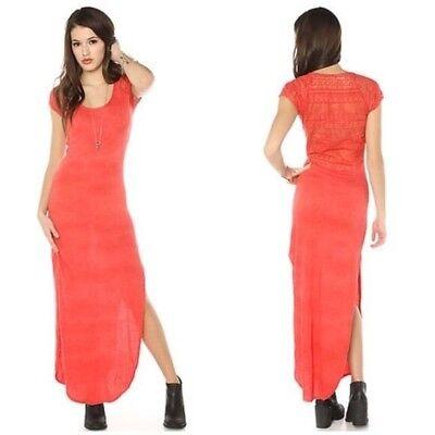 Free People NWT Maxi Lace Dress Strawberry Side Slits Women's Size Small