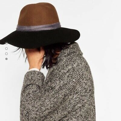 NWT ZARA Hat Two Tone Interwoven Black Brown Small S