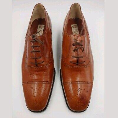 Gucci Vintage Mint 1970s Brogue Brown Wingtip Leather Dress Shoes Size 44 10 US