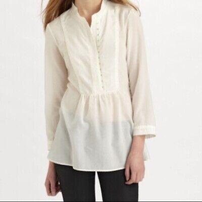 Theory Cream Aldys Pristine Cotton Silk Blend Bib Front Blouse Top Size Medium