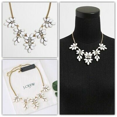 J.CREW Hanging Floral Gemstone Statement Necklace White NWT Floral Gemstone Necklace